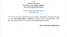 Meteoroloji Mühendisliği Bölümü Staj-1 Kaldırılması Duyurusu